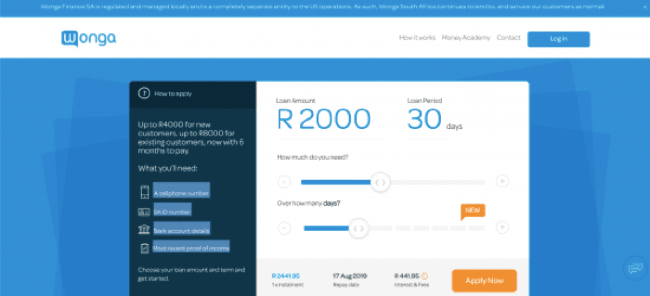 Wonga - Loans up to R4.000